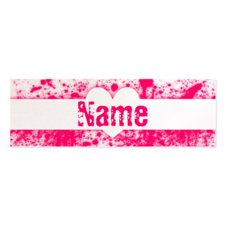 Splatter Hearts Pink Double-Sided Mini Business Cards (Pack Of 20)