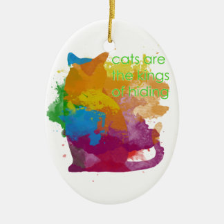 Splatter Paint Kitty Cat Ceramic Ornament