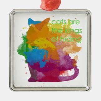 Splatter Paint Kitty Cat Metal Ornament