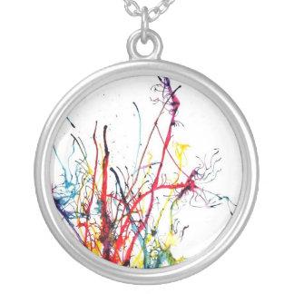 Splatter Paint Neclace Round Pendant Necklace