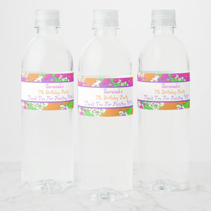 Splatter Paint Party Personalized Water Bottle Water Bottle Label