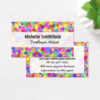 Splatter Paint Rainbow of Bright Color Background Business Card