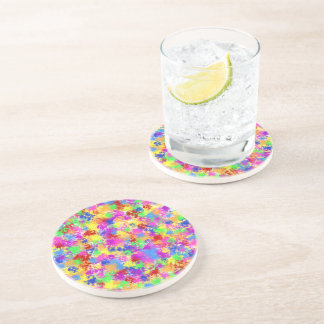 Splatter Paint Rainbow of Bright Color Background Drink Coasters