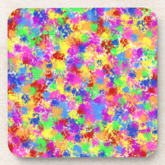 Splatter Paint Rainbow of Bright Color Background Coasters