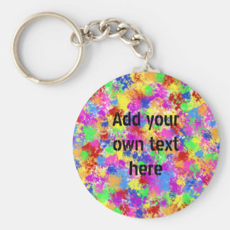 Splatter Paint Rainbow of Bright Color Background Keychain