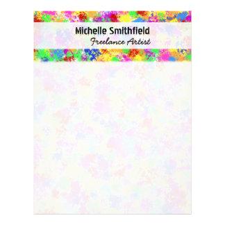Splatter Paint Rainbow of Bright Color Background Letterhead
