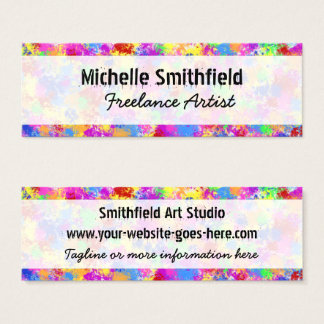 Splatter Paint Rainbow of Bright Color Background Mini Business Card
