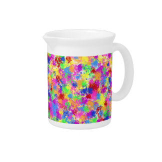 Splatter Paint Rainbow of Bright Color Background Pitcher