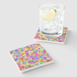Splatter Paint Rainbow of Bright Color Background Stone Coaster