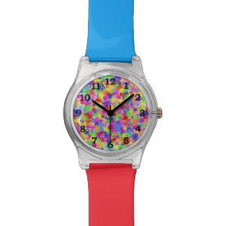 Splatter Paint Rainbow of Bright Color Wrist Watch