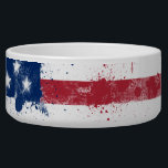"""Splatter Painted American Flag Bowl<br><div class=""""desc"""">Splatter painted version of the national flag of the United States of America.</div>"""