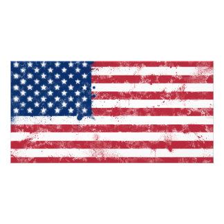 Splatter Painted American Flag Card