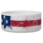 Splatter Painted American Flag Dog Bowl
