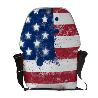 Splatter Painted American Flag Messenger Bag