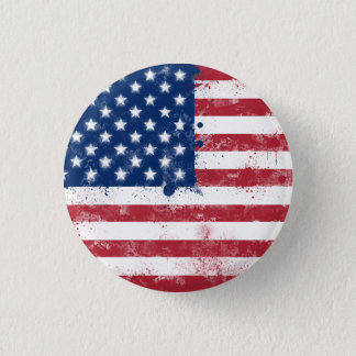 Splatter Painted American Flag Pinback Button