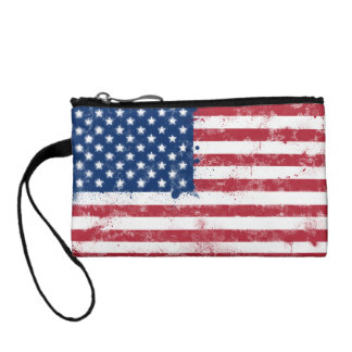 Splatter Painted Flag of the USA Change Purse