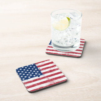 Splatter Painted Flag of the USA Drink Coaster
