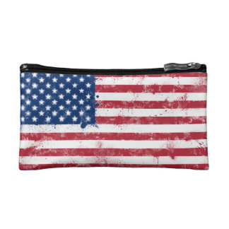 Splatter Painted Flag of the USA Makeup Bag
