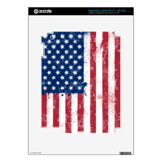 Splatter Painted Flag of the USA Decals For iPad 3