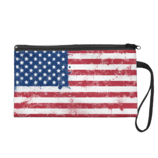 Splatter Painted Flag of the USA Wristlet Purse