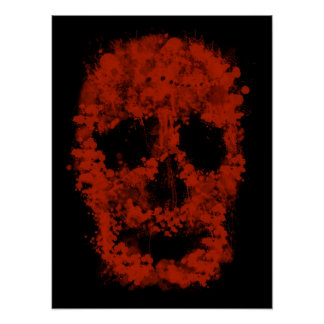 Splatter Skull (talk blood OF black) Poster