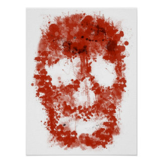 Splatter Skull (talk blood OF white) Poster