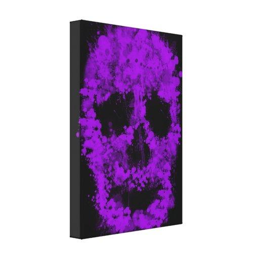 Splatter Skull (violet) Gallery Wrapped Canvas