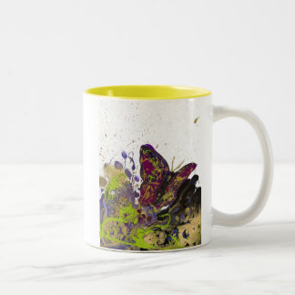 Splattered Butterfly Mug 11oz (White/Yellow)