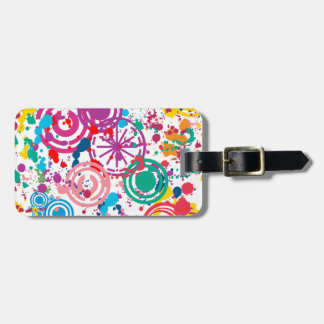 Splattered Disarray Luggage Tag w/ leather strap
