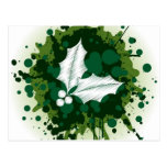 Splattered Paint Christmas Holly Design Postcard
