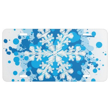 Christmas Themed Splattered Paint Christmas Snowflake Design License Plate