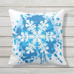 splattered paint christmas snowflake design outdoor pillow - Christmas Outdoor Pillows