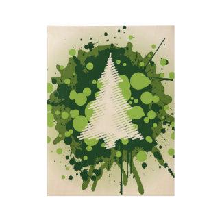 Splattered Paint Christmas Tree Design Wood Poster