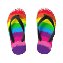 Splattered Rainbow Colors Design Kid's Flip Flops