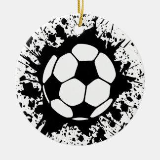 splatz del fútbol adorno redondo de cerámica