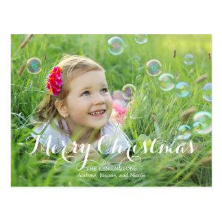 Splendid Script Christmas Photo Card Post Cards