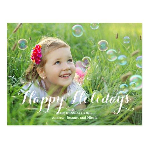 Splendid Script Holiday Photo Card Postcard