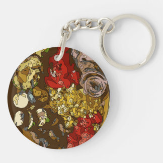Splendid Vegetable Medley of Onions Tomatoes Keychain