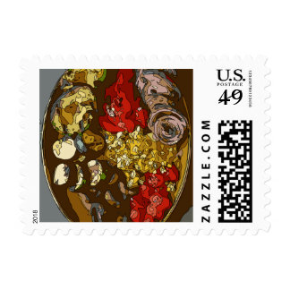 Splendid Vegetable Medley of Onions Tomatoes Stamp