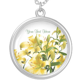 Splendid Yellow-Gold Lilies Design Round Pendant Necklace
