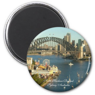 Splendored Sunshines, Curby Bridged, Boaty River 2 Inch Round Magnet