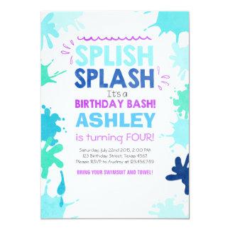 Splish Splash birthday invitation Girl Pool Party