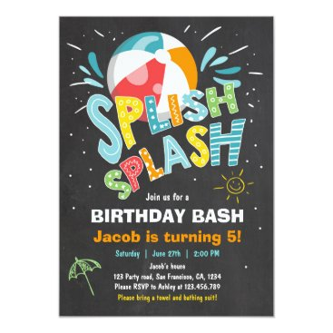Beach Themed Splish Splash birthday invitation Pool party
