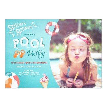 Beach Themed Splish Splash birthday invitation Pool party