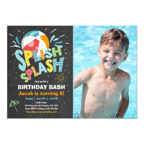 Splish Splash birthday invitation Pool party