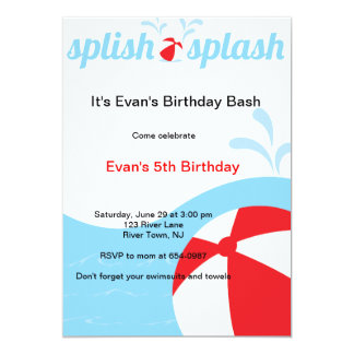 "Splish Splash Birthday Pool Party Invitations 5"" X 7"" Invitation Card"