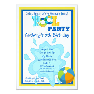 "Splish Splash Boys Pool party Invitation 4.5"" X 6.25"" Invitation Card"