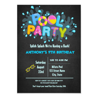 Splish Splash  Come To Our Bash Pool Party Card