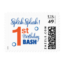 Splish Splash first birthday bash Postage