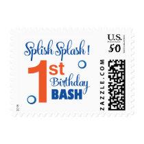 Splish Splash first birthday bash Postage